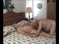 Old gay sucking cock in bed